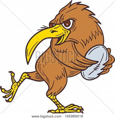 Drawing sketch style illustration of a kiwi bird running with rugby ball viewed from the side set on isolated white background.