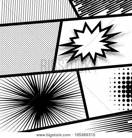 Monochrome halftone background vector illustration. Comic strip and comic speech bubbles. Pop art comic balloon template. Collection sunbeam dot backgrounds.