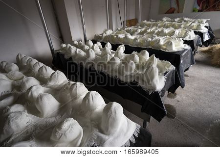 unfinished Panama hats drying after bleaching process in Cuenca Ecuador