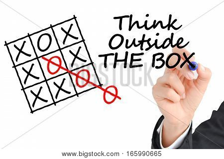 Think Outside the box text with business hand writing on transparent background