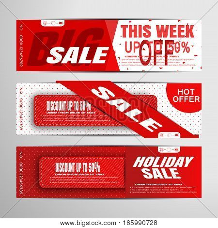 Vector sale banners on the red and white background with stripes and insert.