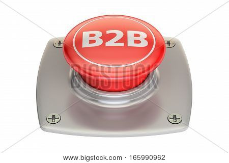B2B button 3D rendering isolated on white background