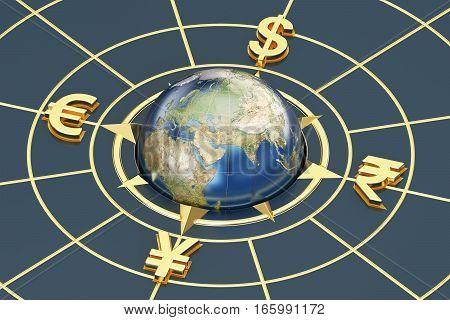 money concept global currencies, compass 3D rendering