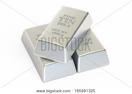 Tin ingots closeup 3D rendering isolated on white background