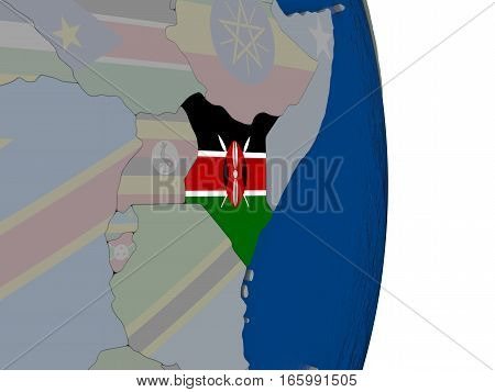 Kenya With Its Flag