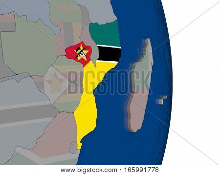 Mozambique With Its Flag