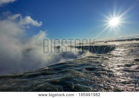Niagara falls. Waterfall in winter. Canadian side.