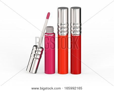 3D illustration three red pink lip gloss on a white background