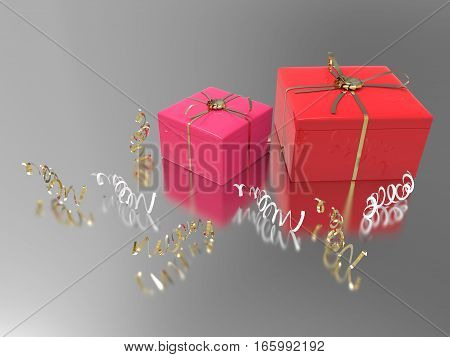 3D illustration two pink red gifts and confetti on a gray background