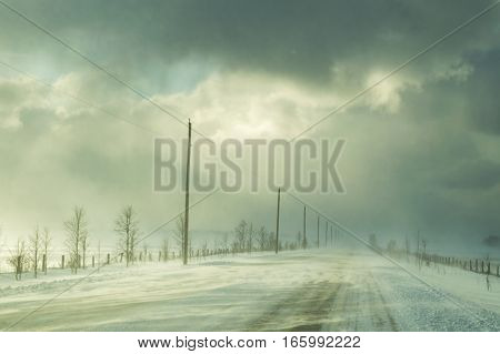 Highway with ground drifted snow illuminated by sunshine during a winter snow squall. Showing trees and power lines and poles along highway.