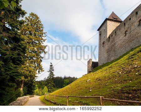 Fortification of medieval stronghold Kasperk Castle near Kasperske Hory in Southern Bohemia, Sumava Mountains, Czech Republic, Europe.