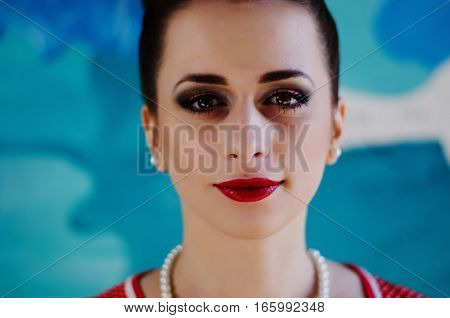 Close Up Portrait Of Bright Make Up Girl Face.