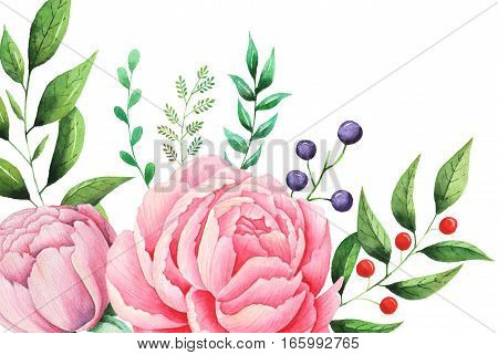 Hand painted watercolor Floral bouquet, isolated on white background
