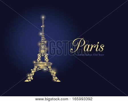 Unique Vector Golden Glowing Eifel Tower in Paris Silhouette At Night. French Landmark On Dark Blue Horizontal Background.