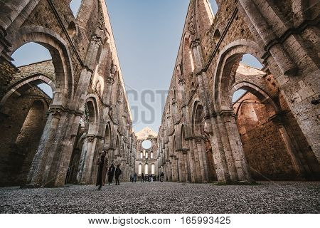 Siena Italy - October 30 2016: Remains of the Cistercian Abbey of San Galgano situated near Siena Italy.