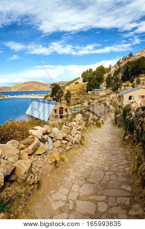 Small village of Challapampa on the Island of the Sun in Bolivia on the shores of Lake Titicaca