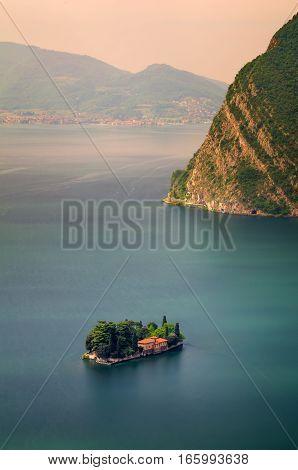 San Paolo island on Iseo Lake Italy