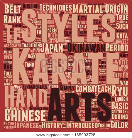 History And Fundamentals Of Karate text background wordcloud concept