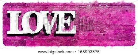 Digital watercolor painting of the word love on a pink background. Space for text.