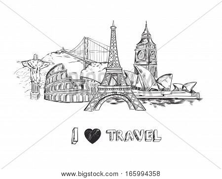 Travel sketch poster with famous buildings and sights of world tourism isolated vector illustration