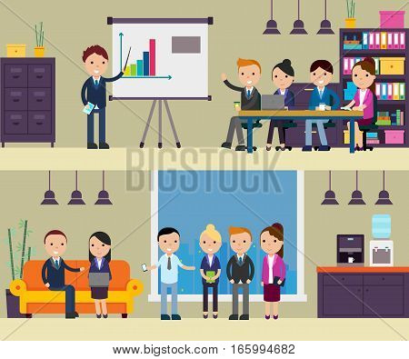 Business negotiation composition with people at meeting presentation conference discussion and interview in flat style vector illustration