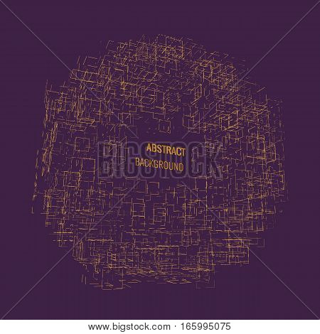 Abstract technology vector background. Abstract architect. Cubic based space.