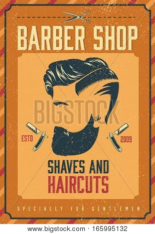 Barber shop poster with bearded stylish gentleman and equipment in vintage style vector illustration