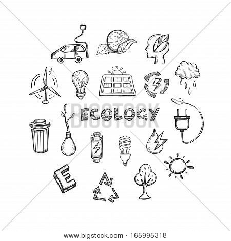 Ecology hand drawn icons set of alternative energy climate protection and environment save isolated vector illustration