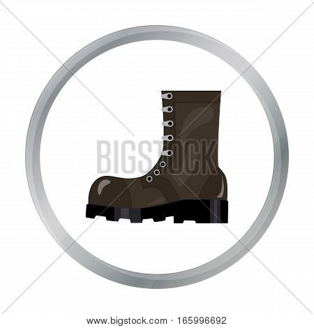 Army combat boots icon in cartoon style isolated on white background. Military and army symbol vector illustration - stock vector