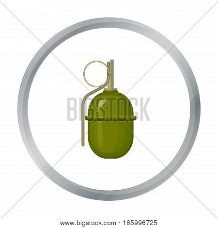 Military grenade icon in cartoon style isolated on white background. Military and army symbol vector illustration - stock vector