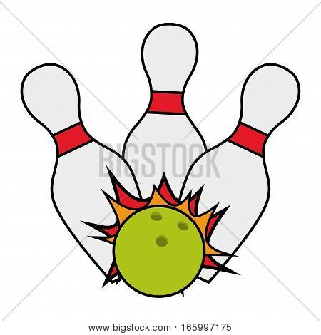 bowling ball pin strike cartoon vector illustration eps 10