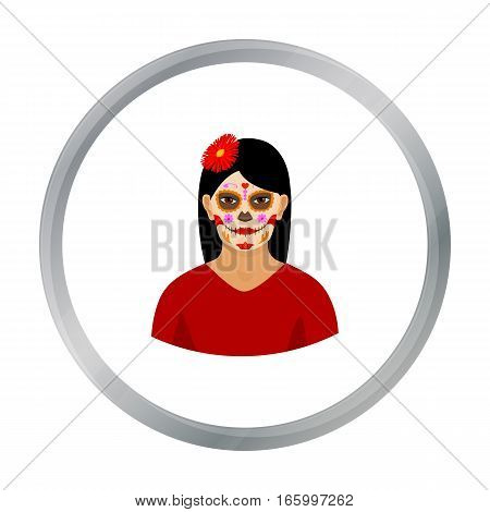 Mexican woman with calavera make up icon in cartoon style isolated on white background. Mexico country symbol vector illustration. - stock vector