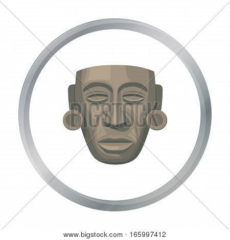 Mayan mask icon in cartoon style isolated on white background. Mexico country symbol vector illustration. - stock vector