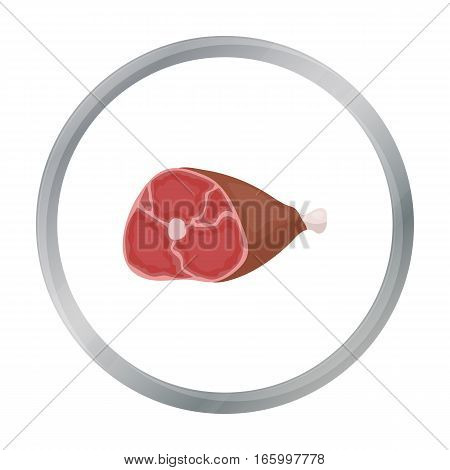 Ham icon in cartoon style isolated on white background. Meats symbol vector illustration - stock vector