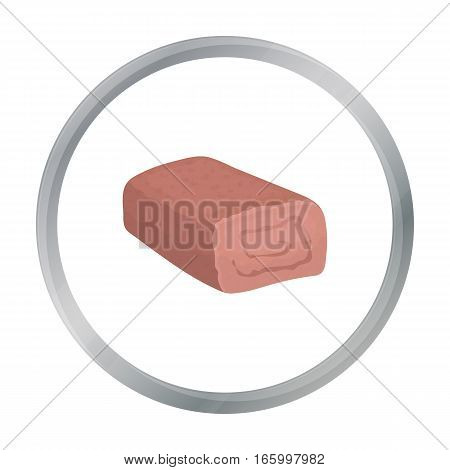 Meatloaf icon in cartoon style isolated on white background. Meats symbol vector illustration - stock vector