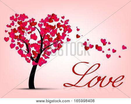 Valentines Card With Heart Tree
