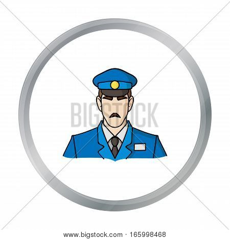 Museum security guard icon in cartoon style isolated on white background. Museum symbol vector illustration. - stock vector