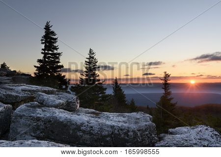 Sunrise and View of Valley from Mountain Top