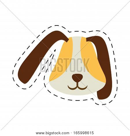 puppy face ear long brown pet line dotted vector illustration eps 10