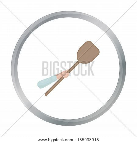 Wooden peel icon in cartoon style isolated on white background. Pizza and pizzeria symbol vector illustration. - stock vector