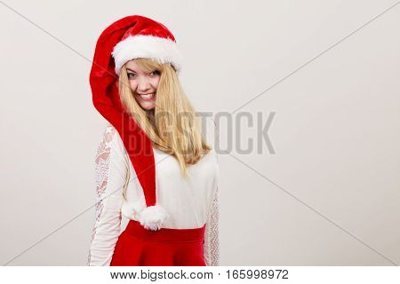 Happy Cute Woman In Santa Helper Hat. Christmas.