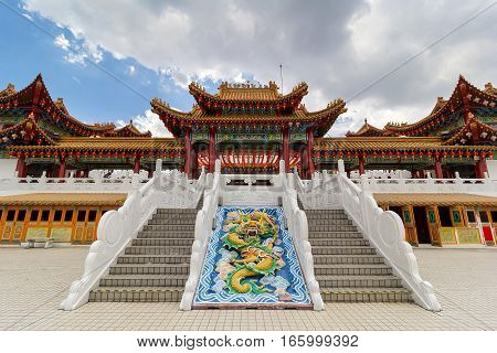 Thean Hou Temple courtyard and staircase atop Robson Heights in Kuala Lumpur Malaysia poster