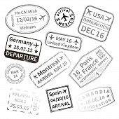 Big set of black International travel visa stamps isolated on white. Arrivals sign rubber stamps. poster