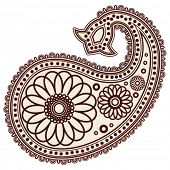 Vector Hand-Drawn Abstract Henna (mehndi) Paisley Doodle Vector Illustration Design Elements. poster