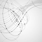 Abstract vector background. Black rounded curves intersecting lines with rounded points at the intersections on a light background. Subject of technology molecular physics data transmission. poster