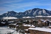 The University of Colorado Boulder Campus on a Snowy Winter Day with the Flatirons in the Background poster