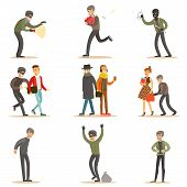 Burglars, Pickpockets And Thieves Set Of Smiling Criminals At The Crime Scene Stealing Vector Illustrations. Cartoon Outlaw Male Characters Thieving Wearing Mask And Dark Clothes. poster