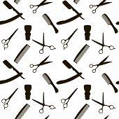 Barber Shop or Hairdresser background, seamless pattern with hairdressing scissors, shaving brush, razor, comb man salon vector illustration poster