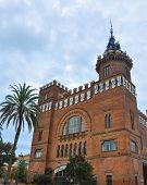 Park Ciutadella Barcelona Catalonia Spain. Castell dels Tres Dragons - modernist style architecture building castle designed by Lluis Domenech i Montaner poster