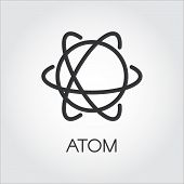 Simple black icon of atom. Chemistry, physics, science concept. Pixel perfect 48x48 px. Linear logo for websites, mobile apps and other design needs. Vector contour pictograph poster